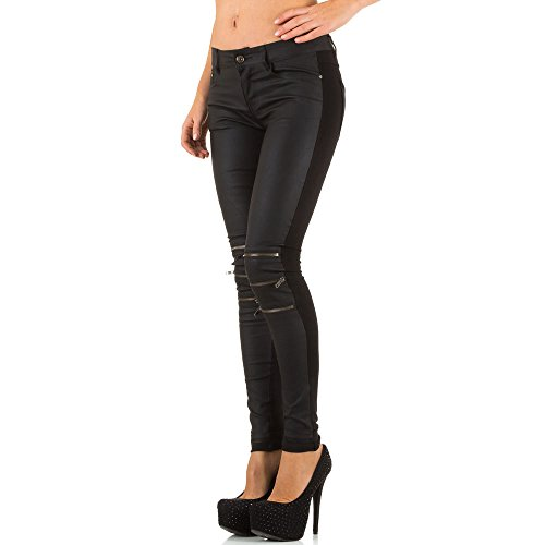 Damen Jeans, BIKER HÜFT ZIPPER SKINNY, KL-J-3D56 Schwarz