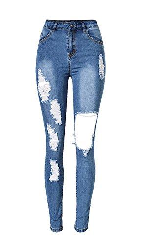 iRachel Damen Jeans Hose Skinny Röhrenjeans Bleistifthose Hose Denim Dünn Ripped Loch Bleistift Hose, Blau, Gr. Tag 42 (US 10,UK 14,EU 42) (Jeans-tag Damen)