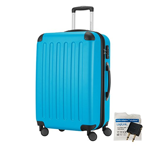 HAUPTSTADTKOFFER® 82 Liter Reisekoffer · SPREE · TSA · MATT · NEU 4 Doppel-Rollen · (in 12 Farben) + LogiLink® Flugzeug Audio Adapter (Cyan Blau)