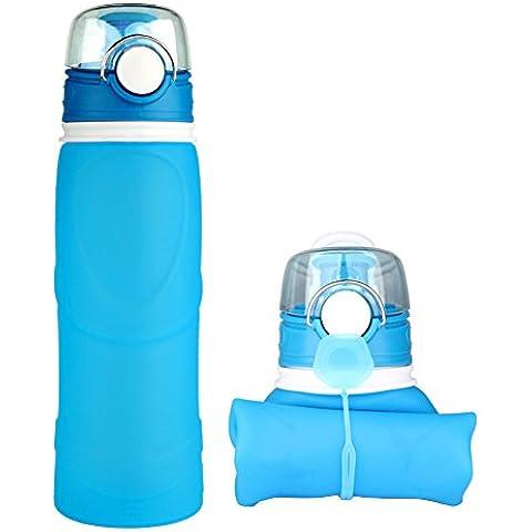 Ksweet Silicone Acqua Bottiglia Pieghevole 750ml priva di BPA Borraccia bottiglia a perfetta tenuta per lo sport attività all'aperto viaggio campeggio (Blu)