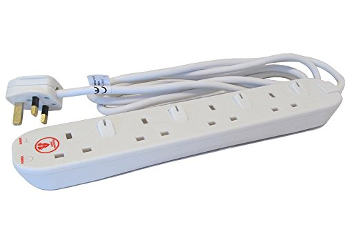 Masterplug SWSRG42N - Regleta alargadora (2m, 13A, 4 tomas de Reino Unido,...