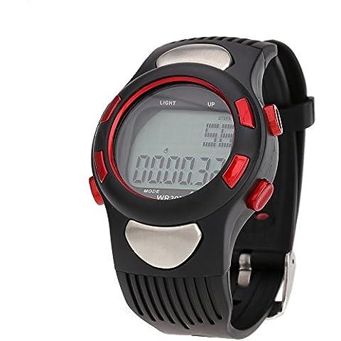 Lixada Orologio Sportivo--Contapassi multifunzione con Calorie Counter e Monitor di frequenza cardiaca--edometro preciso , calcola le calorie bruciate e il progresso giornaliero ,Funzione dell'orologio,3ATM