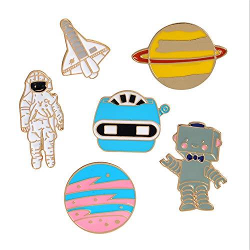 MHKJ 6 Stücke Set Little Astronaut Planet Serie Brosche Pins Revers Pin Set Für Kleidung Taschen Rucksack Jacken Abzeichen Pins Für Erwachsene Jungen ()