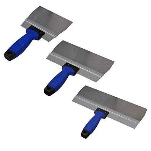 3er Spachtelset -DEWEPRO® Breitspachtel - Fugenspachtel - Fugspachtel - Trockenbauspachtel mit 2-K-Griff und Aluhalter - Edelstahlklinge: 150x95mm, 250x95mm und 350x95mm - Flächenspachtel