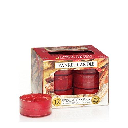 Yankee Candle 1100955E - Canela chispeante Velas de Té Aromáticas Paquete de 12 unidades color Rojo