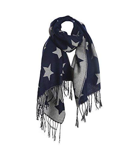 iZoeL Damen XXL Schals Tuch Sterne Muster Fransen Quaste Sternenschal Doppelseitige Tuch Schal Halstuch Winterschal 200*70cm