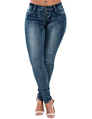 Women's Ladies Distressed Ripped High Waisted Casual Skinny Jeans