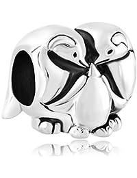 Myd Sealife–joyas para mujer Lucky cuentas de familia de pingüinos Europea encantos pulsera paquete de 2