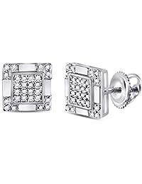 9589252a3e58 Jewels by Lux - Pendientes de oro blanco de 10 quilates para hombre
