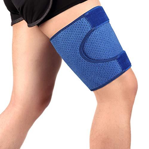 Haofy Oberschenkelbandage für Damen Herren, Kompression Oberschenkel Bandage mit Klettverschluss und Rutschfest Einstellbar Gurt, Kniesehne Oberschenkel Unterstützung für Verhindern Muskelzerrungen