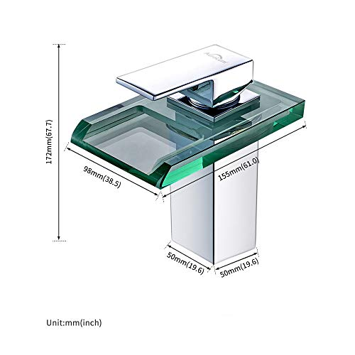 Auralum Led Waschtischarmatur Wasserfall Glas Wasserhahn mit RGB Farbewechsel Bad Badezimmer Waschbecken WC, Chrom - 3