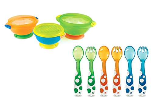 Munchkin Stay Put Suction Bowls with Multi Fork & Spoon Set 41qg9i993eL