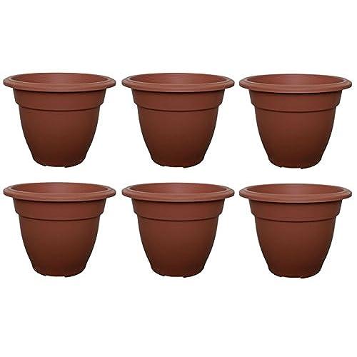6 X Large 38cm Round Bell Plant Pots Planters Plastic Terracota Colour Garden  Pots