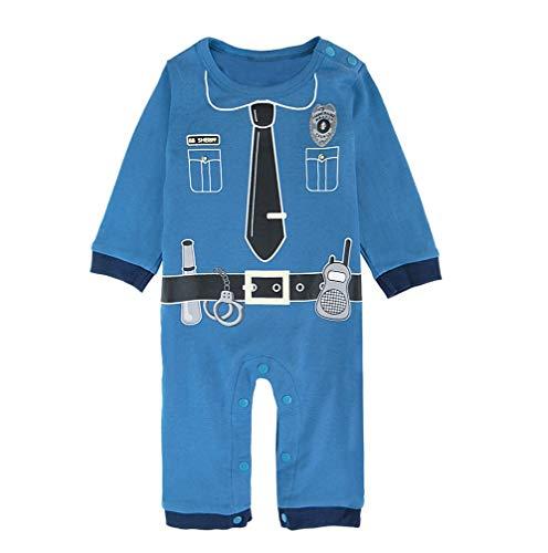 Mombebe Baby Jungen Polizei Halloween Kostüm Strampler Lange Ärmel (Polizei, 3-6 ()