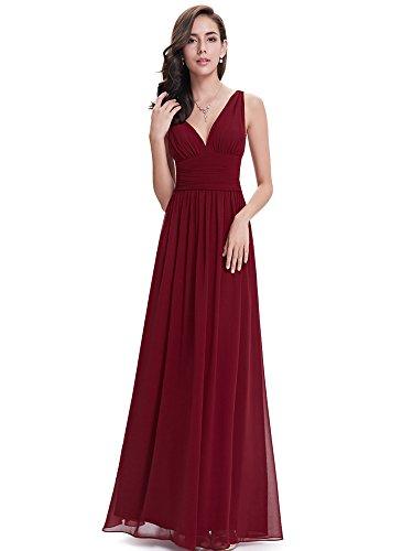 Ever Pretty Damen Elegante Lange V-Ausschnitt Prom Partykleid Abendkleider Burgundy 48