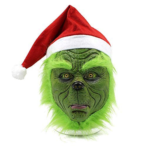 TULADUO Grinch Fancy Dress Adult Weihnachtskostüm Maske Scary Maske Latex Helm Erwachsene Masken mit Hut