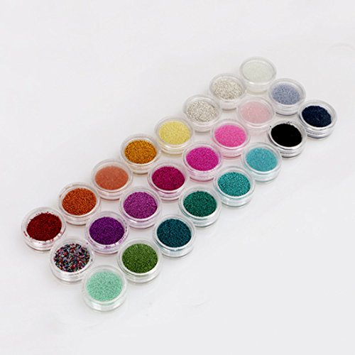 Mode Galerie 24 Couleur Mini Micro-billes Perles 3D Ongles Acrylique Caviar Gel UV Decoration Nail art