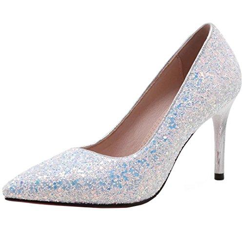 AIYOUMEI Damen Abenschuhe Stiletto High Heels Pumps mit Pailletten Glitzer Brautschuhe Spitz 8cm Absatz Hochzeit Schuhe
