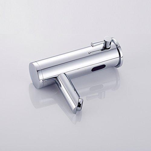 Auralum – Waschtisch-Armatur, Kalt- und Warmwasser, Sensorarmatur, Infrarot IR, Batteriebetrieb, Chrom - 4