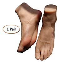 LUCKFY 1 Pair Wheat-colored Male Feet Model Silicone Mannequin Foot for Shoe Sock Display Jewelery Sketch Nail Display