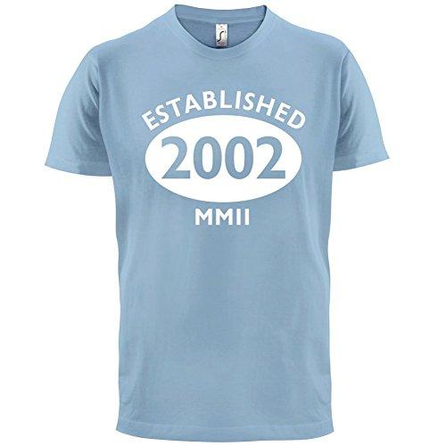 Gegründet 2002 Römische Ziffern - 15 Geburtstag - Herren T-Shirt - 13 Farben Himmelblau