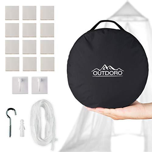Outdoro Moskitonetz inklusive Klebehaken für Reise und Zuhause - extra-groß für Doppelbett & Einzelbett, Betthimmel