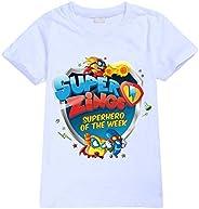 Superzings Camiseta Ronda Animado impresión de Verano de Cuello de Manga Corta Superior Delgada sección Superi