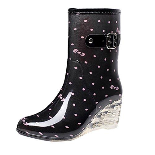 LvRao Frauen Absatzschuhe Stiefel mit Reißverschluss wasserdichte Gartenschuhe | Damen Punkt-Muster Regen Boots Wellies Gummistiefeln Schwarz Rosa Etikett 38, EU 38 - Rosa Wellies