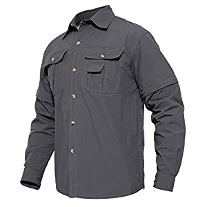 41qgDauvE1L. SS300  - MAGCOMSEN Quick Dry Breathable Convertible Men's Long Sleeve Shirt for Hiking Work Military