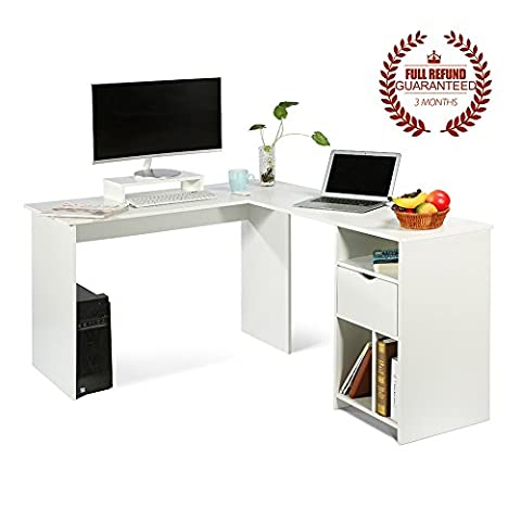 L-Shaped Office Computer Desk, Large Corner PC Table with monitor stand for Home and Office Use,White Wood Grain(2 Carton