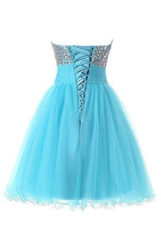 JAEDEN Damen Traegerlose Tuell Ballkleider Kurz Strass Festkleid Brautjungfernkleid Partykleid Cocktailkleid Blau