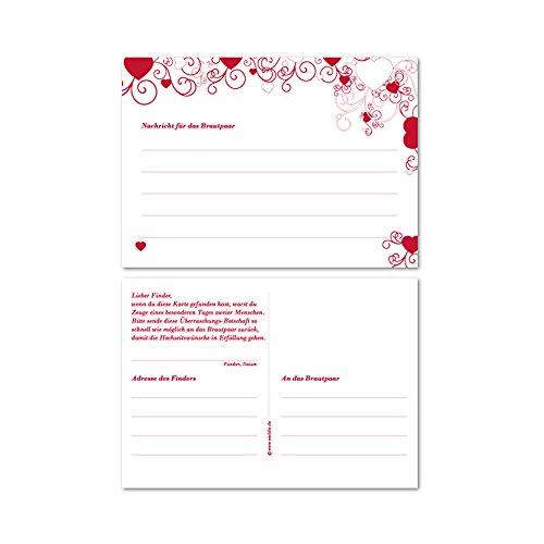 in the Air für den Ballonstart bei der Hochzeit, Ballonflugkarten in Rot mit Herzen, 25 Stück Set ()