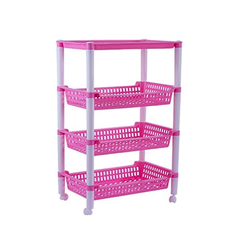 Regal Kunststoff-utility-schrank (LQQGXLLagerung und Organisation Regal Familie Wirtschaft Regale Kunststoff Rechteckige Hohlboden Dicker Badezimmer Regale Waschraum Regale Candy-farbige Regale 51,2x37,4x83,5 cm (Farbe : Pink))