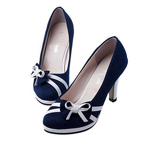 OYSOHE Neueste Sommer Damen Mode Runde Zehe Schuhe Bowknot Shallow High Stöckelschuhe
