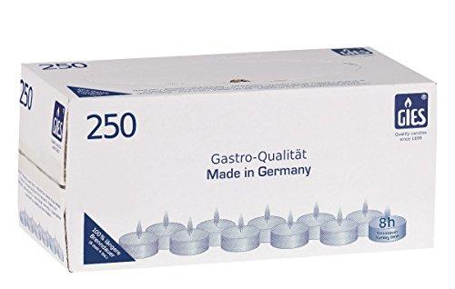 Gies 205-479000-10 Teelichte, Durchmesser 38 mm, in Metallhülsen, 8 Stunden Brenndauer, 250-er Karton, weiß