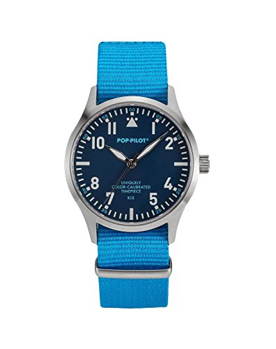 pop-pilot-unisex-kix-quartz-watch-with-blue-dial-analogue-display-and-blue-nylon-strap