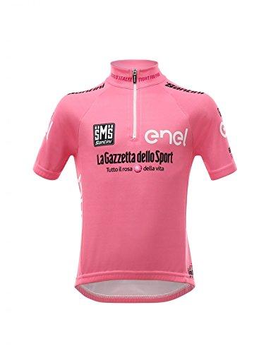Santini Giro D'Italia 2017 Leaders Zip Camiseta de Manga Corta, Infantil, Rosa, S