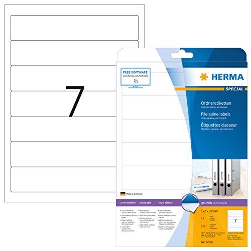 Herma 5090 Ordnerrücken blickdicht, schmal/kurz (192 x 38 mm) 175 Ordner Etiketten, 25 Blatt A4 Papier matt, weiß, bedruckbar, selbstklebend - Schmales Blatt
