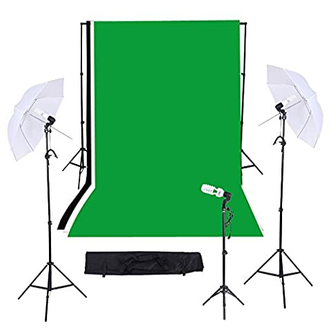 Andoer Photographie Kit / Video Studio Triple éclairage avec 10ft * 12ft Noir Blanc Vert Muslin backdrop Support System avec