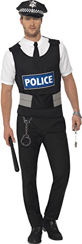 Polizist Sofort-Kit mit Weste Mock Hemd Mütze und Handschellen                      (Policeman Fancy Kostüme Dress)