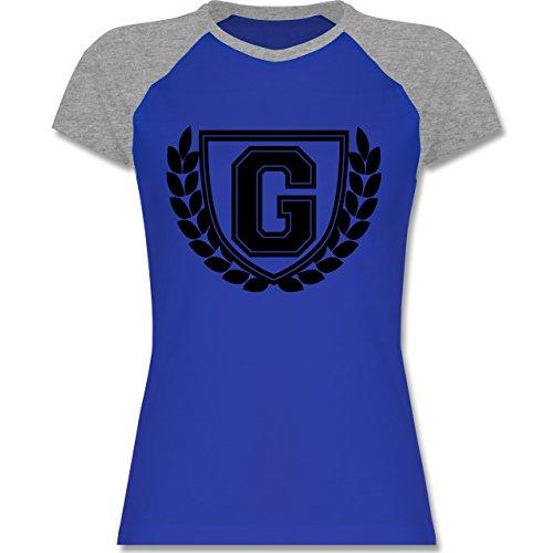 Anfangsbuchstaben - G Collegestyle - zweifarbiges Baseballshirt / Raglan T-Shirt für Damen Royalblau/Grau meliert