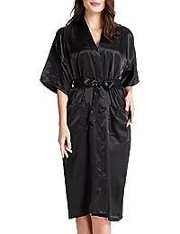 SiDiOU Group Camisón Bata de satén Vestido Kimono largo mujer Pijamas Ropa de dormir Albornoz