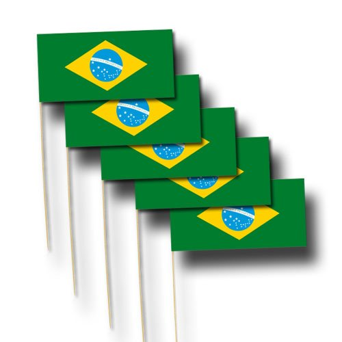 Brasilien 12x23 cm, 40-cm-Holzstab, 10er-Pack ()