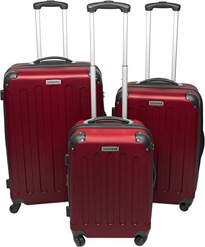 Trolley-Kofferset 3tlg. Ultra-Light - XXL-Volumen - 4 Rollen(360 Grad) Farbe Bordeaux