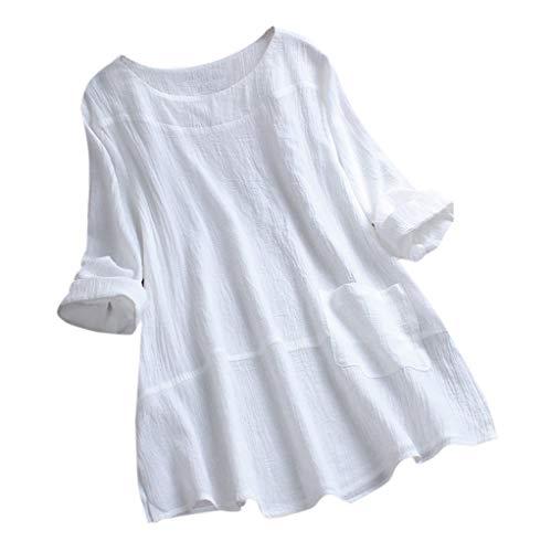 Zegeey Oberteil Damen Lose Bluse Shirt T-Shirt V-Ausschnitt Knopf Plissee Blumendruck LäSsige Tops Tunika Shirt(A5-Weiß,EU-50/CN-5XL) -