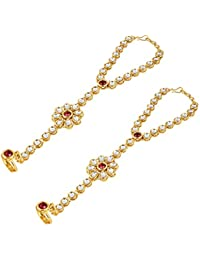 Aradhya Gold Pearl Kundan Hathphool for Women (Set of 2)