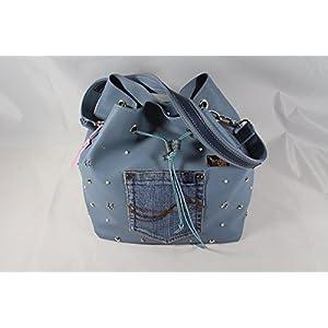PU-Leder Beutel Handtasche hellblau mit Nieten