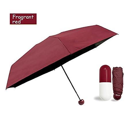 perete Mini Faltbarer Regenschirm mit niedlichem Kapsel Fall–UV-Schutz LSF 50+ Sunproof leicht Kompakte Reise Schirme (Coral Pulver), Fragrant Red