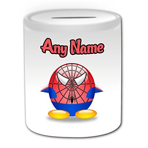 Personalisiertes Geschenk–Spider Man Spardose (Pinguin Film Charakter Design Thema, weiß)–Jeder Name/Nachricht auf Ihre Einzigartiges–Kostüm Film Superheld Hero Marvel Comics Avengers Peter Benjamin Parker (Marvel Heroes Beste Spiderman Kostüm)