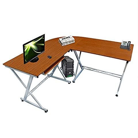 Lyndan - Durango Walnut Corner Computer Table Desk L Shaped for Home and Office Furniture Study Portable Workstation for PC Desktop and Laptop with Sliding Keyboard Shelf and Open Space for Tower, Printer and Documents - mobili per ufficio